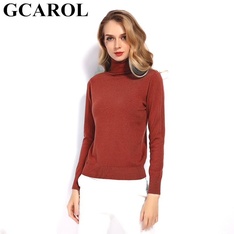 GCAROL 2019 New Women 30 Wool Turtleneck Sweater Fall Winter Jumper Render Knit Basic Pullover Solid