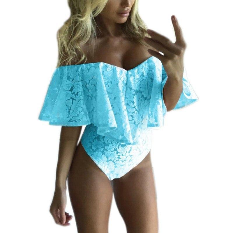 Ruffles Lace Bodysuit Summer   Jumpsuits   Rompers Off Shoulder Slash Neck Body Top Beach Overalls Female Sexy Women Bodysuits