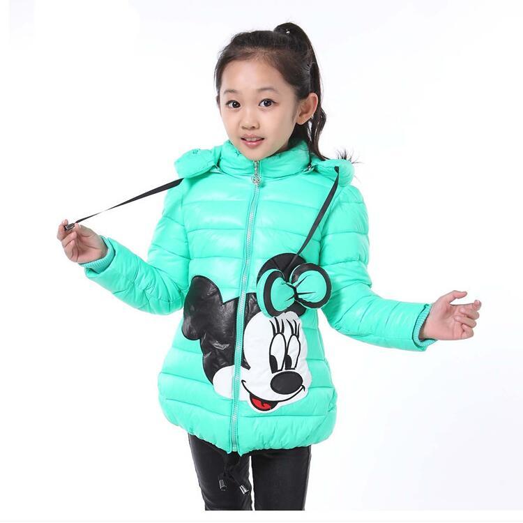 New Minnie Winter Girls Jacket Snow Treasure Cartoon Coat Cotton-padded Clothes Children's Keeping Warm Hoodies Kids Clothing