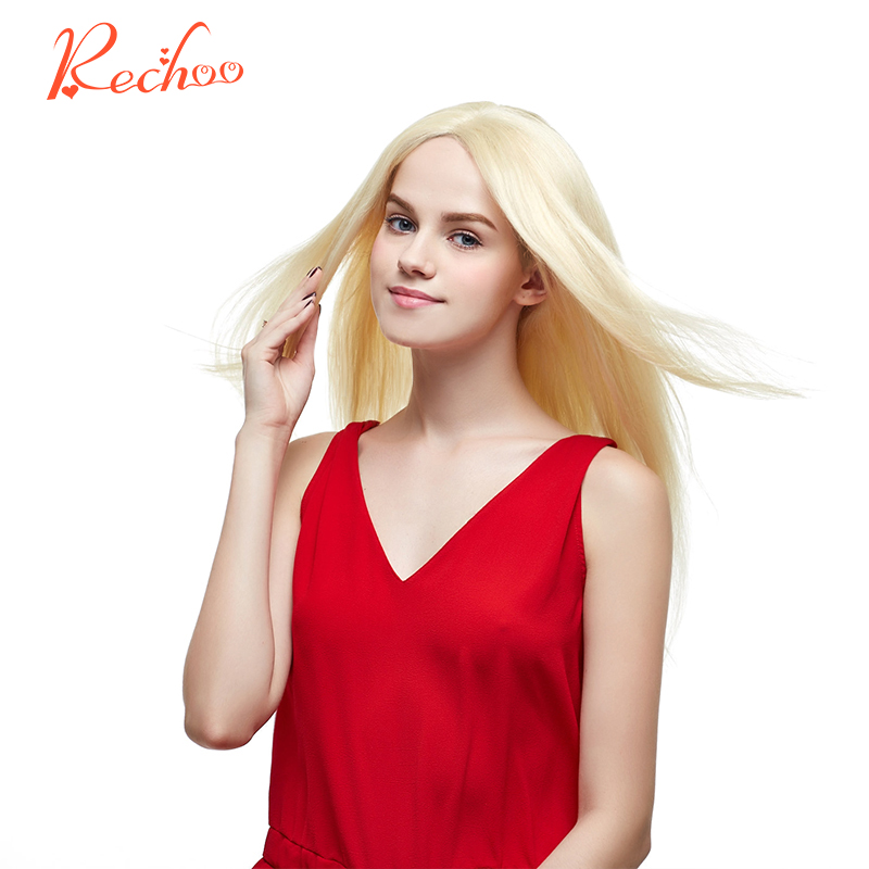 "Rechoo Straight Brazilian Machine Made Remy 100% Human Hair Blonde Color 613 Full Head Set Clip In Hair Extensions 16""18""22""24"""""