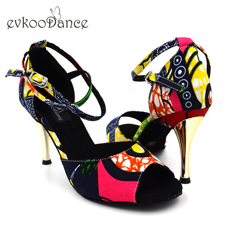 Red African Print Style 8.5 cm Zapatos De Baile Latino Girls US 4-12 Satin Latin Ballroom Salsa Dance Shoes For Women NL164 цена