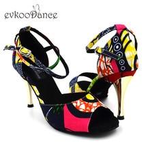 Red African Print Style 8.5 cm Zapatos De Baile Latino Girls US 4-12 Satin Latin Ballroom Salsa Dance Shoes For Women NL164