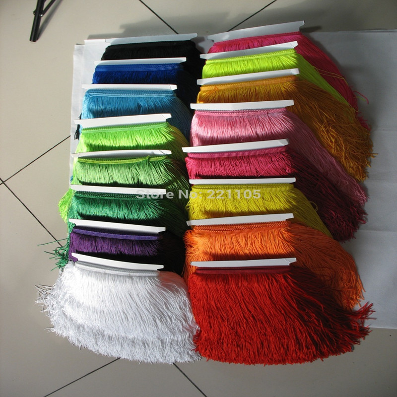 10Meter/Lot 30CM Long Trim Polyester Fringe Tassel African Lace Ribbon Yarn Trim For Sew Latin Dress Clothes Trim Accessories