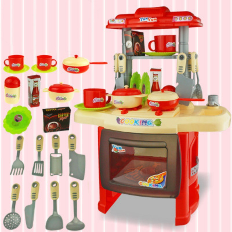 Kids Kitchen Set Children Toys Cooking Simulation Model Colorful Play Educational Toy for Girl Baby