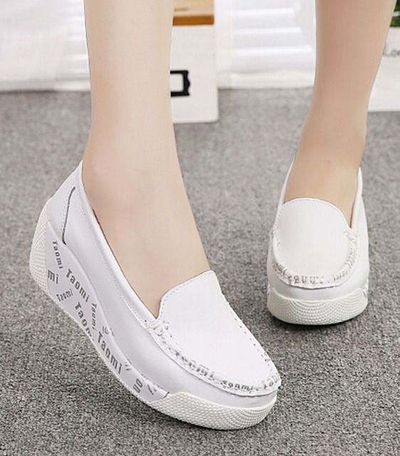 Elegant  Leather Shoes For Women  Rocking Shoes Swing Platform Wedges Shoes Black White Colors Letter Print  Slippers  .SPP-917