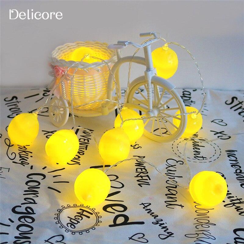 DELICORE Fashion Holiday Lighting 10 LED Novelty Lemon String Lights Wedding Garden Party Baby Kids Bedroom Decoration S087