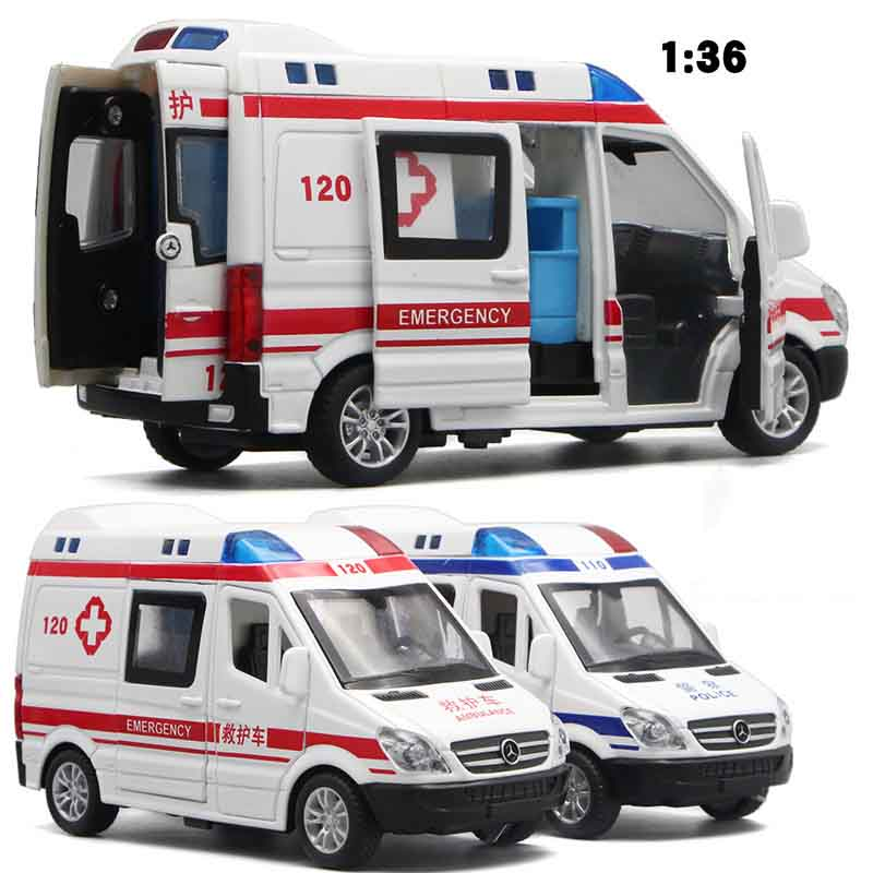 1:32 Hospital Rescue Police Alloy Ambulance Vehicle With Sound Light Diecast Car Model Toys For Gift With Pull Back For Children