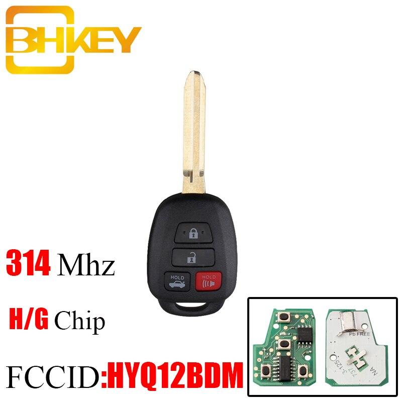 BHKEY 314.4Mhz Remoto chave Para Toyota Camry G/H Chip opcional Para Toyota Camry Corolla 2012-2017 para a Toyota HYQ12BDM HYQ12BEL