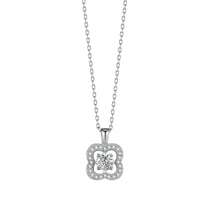 Image 5 - Fashion Flower Crystal Silver Pendant Necklaces for Women 925 Silver Chain Wedding Jewelry Lover Gift