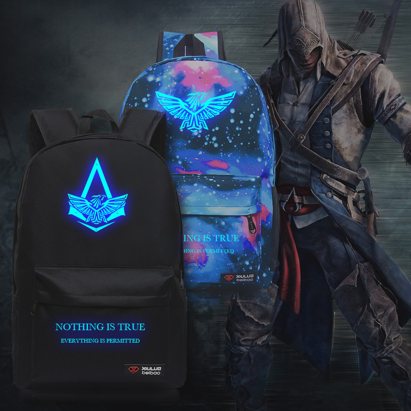 New Fashion Assassins Creed Luminous Backpack Boy Girl School Bags For Teenagers Casual Bag Game Canvas