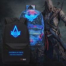 Neue Mode Assassins Creed Luminous Rucksack Junge Mädchen Schultaschen Für Jugendliche Casual Bag Game Leinwand Rucksäcke