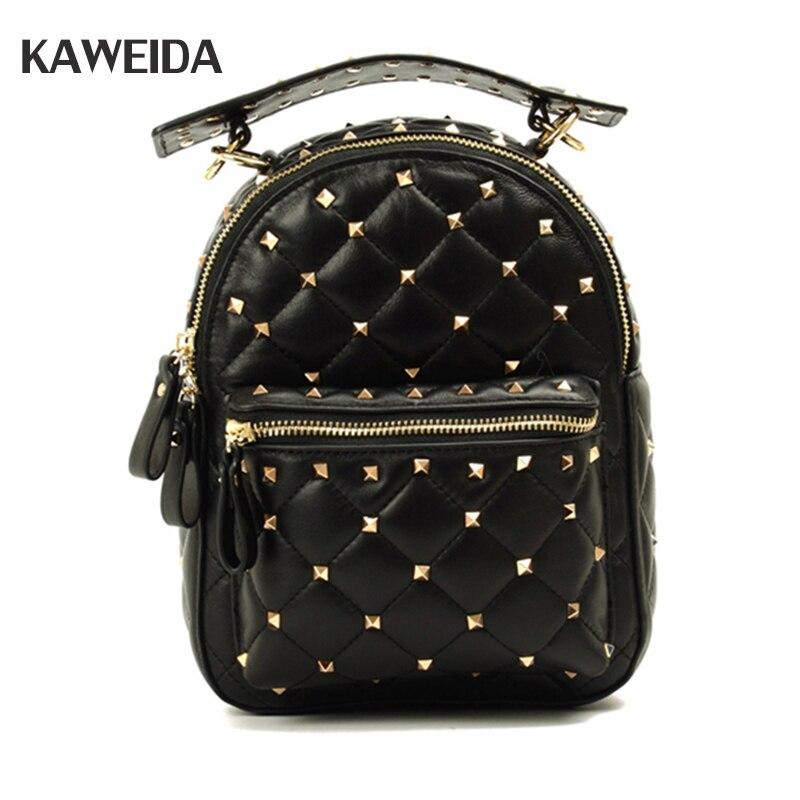 Famous Brand Sheepskin Women Backpacks Genuine Leather Rivet Backpack Female School Bag For Teenagers Girls Travel Mochilas