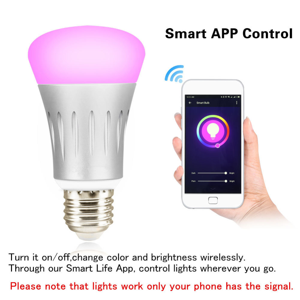 wifi light bulb smart led bulbs e26 7w dimmable night light wireless wi fi rgb multi color light. Black Bedroom Furniture Sets. Home Design Ideas