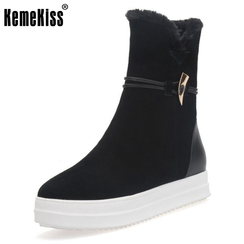KemeKiss Women Real Leather Wedges Boots Warm Fur Shoes Winter Snow Boots Half Short Botas Inside Heel Women Footwear Size 34-39 serene handmade winter warm socks boots fashion british style leather retro tooling ankle men shoes size38 44 snow male footwear