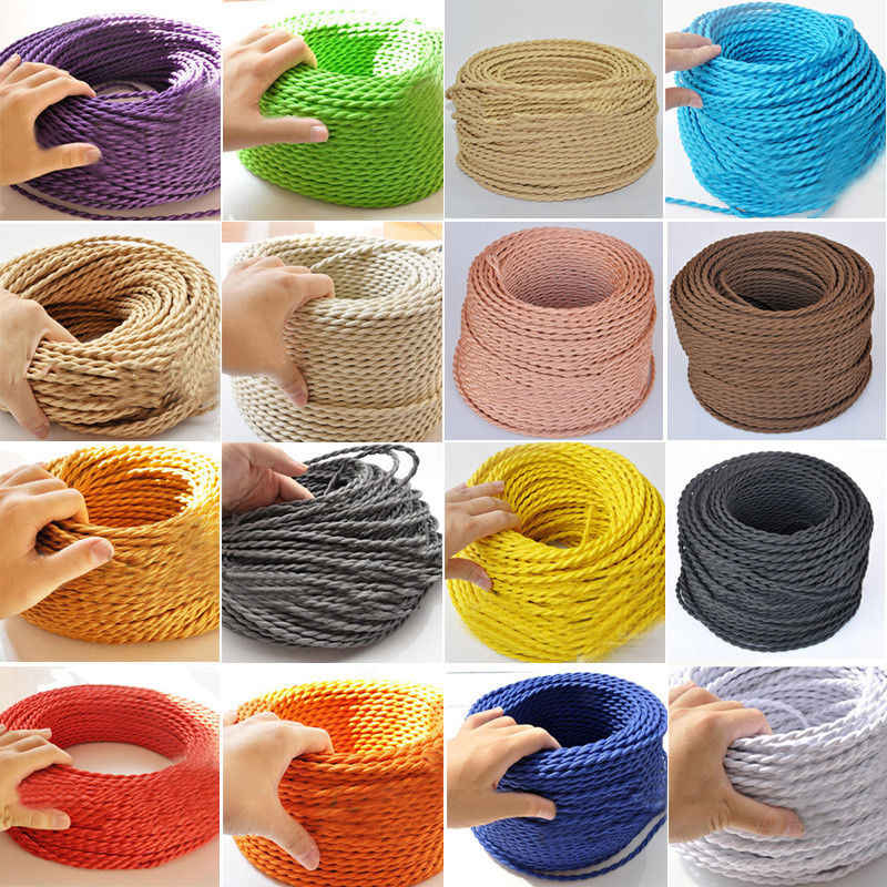 2m,3m,5m,10m/lot 2x0.75 Color Twisted Wire Twisted Cable Retro Braided Electrical Wire Fabric Wire vintage lamp cord
