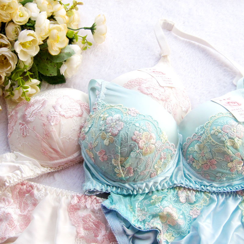 Embroidery silk Lingerie panties silk   bra     set   nature silk hot-selling   Bra   &   brief     sets