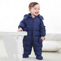 The Newborn Male and Female Infants Climb Down Jacket Down Baby Clothes Children Space Suit Piece Romper