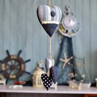 Mediterranean style Denim Blue Striped Plaid size on love ornaments fabric crafts EA33