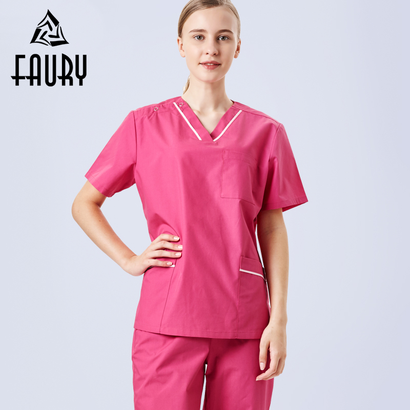 Short-sleeved Summer Washing Clothes Women's Nurse Doctor Overalls Female Beauty Salon Split Suit Surgical Uniforms Scrub Sets