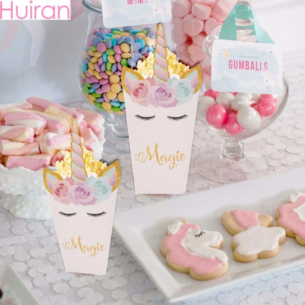HUIRAN Cupcake Wrapper Paper Gift Bag Popcorn Box Rainbow Unicorn Party Decor Unicorn Birthday Party DecorBaby Shower Supplies