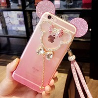 For Iphone 5 SE 6 6S 7 Case Cute Cartoon 3D Mickey Mouse Ears Candy Gradient