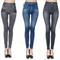 DJGRSTER Leggings Jeans Legging Women Velvet Leging Jeans Blue Black Ladies Jeggins with Real Pockets Denim Skinny Legging Pants