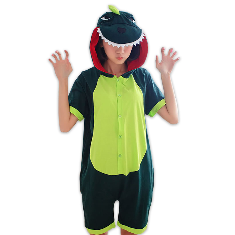 Adult dinosaur animal onesies women Couples cute cartoon homewear short sleeve 100% cotton pijamas short pyjamas for women ...
