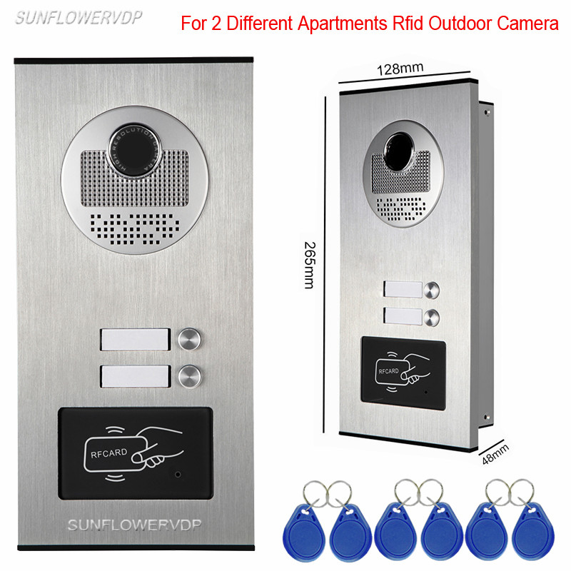 Access Control Rfid Unlock Video Intercom Video-Eye 2 Buttons For 2 Apartments Video Door Phone DoorPhone Outdoor CCD Camera access control function video door phones intercom systems for 5 apartments with five 7 lcd and 5 buttons outdoor camera