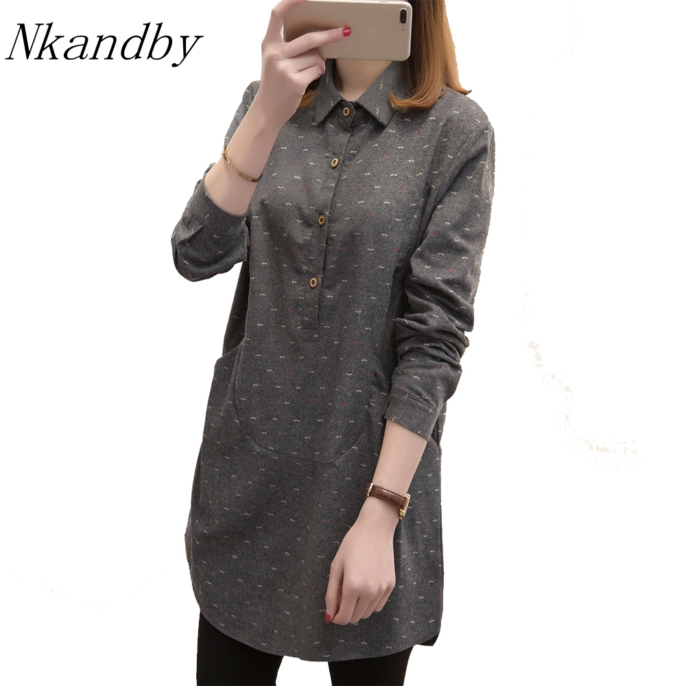 Nkandby Plus Size Long Tops 2019 Spring Big Size For Women Clothing Turn Down Collar Long Sleeve Pullovers Large Shirts Blouses