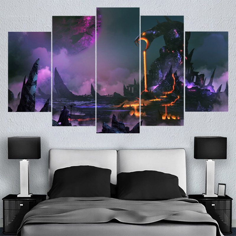 5 Pcs Home Decor Wall Art Beautiful Landscape Canvas Paintings HD Printed Framed Or Unframed Canvas Painting For Bed Living Room