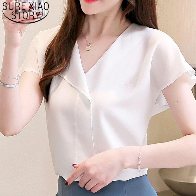 Women Blouse And Tops 2019 Summer Fashion Ladies Tops Chiffon Short Shirts V Neck White Elegant Blouse Shirts Shirts 3854 50