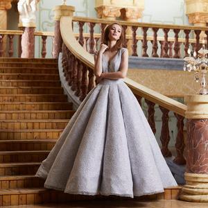 Image 2 - Finove イブニングドレス 2020 ロングスパークル材料セクシーな V ネックバックレスの夜会服フォーマルパーティー反射ドレスローブ · ド · 夜会