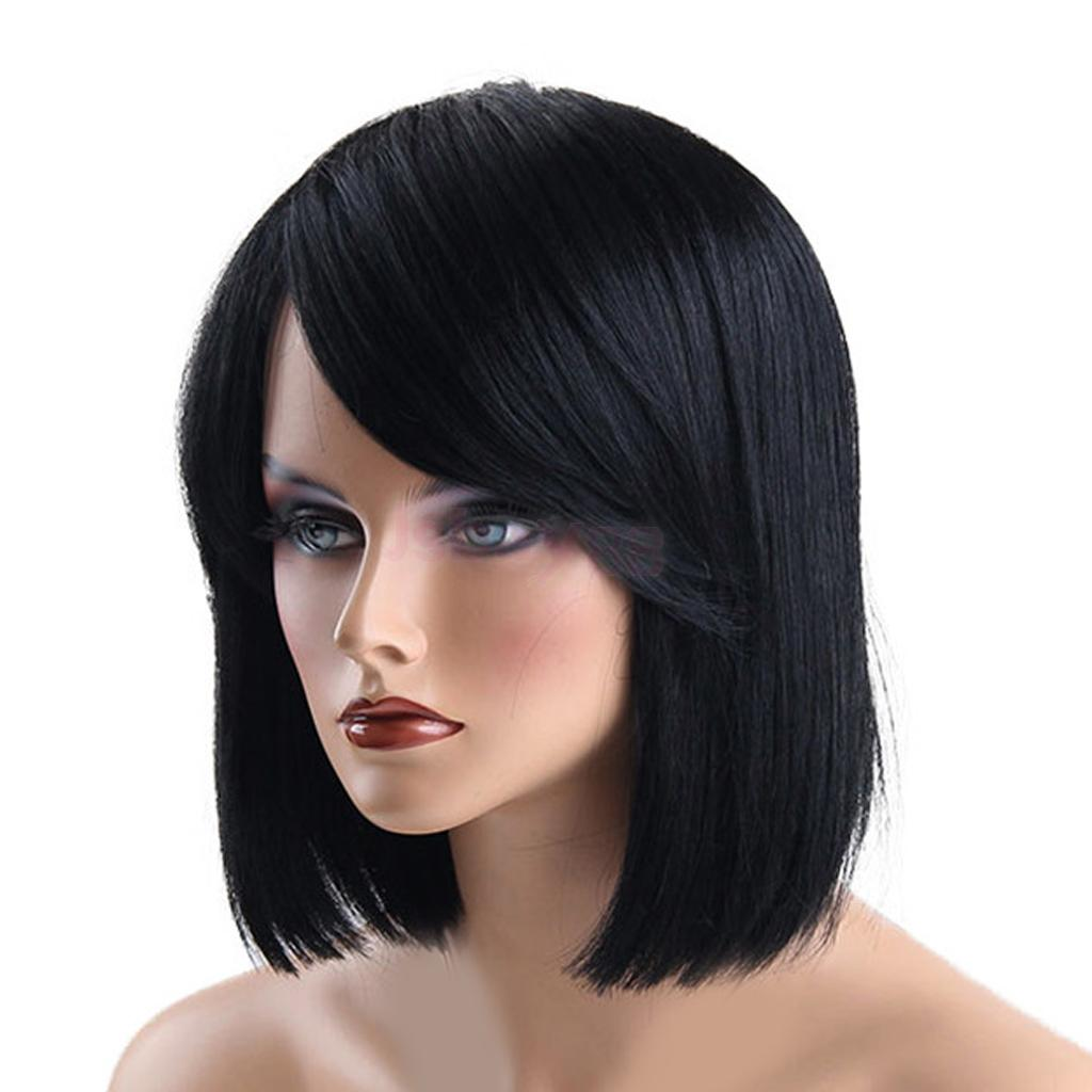 12 Inch Short Bob Straight Hair Wigs with Side Bangs for Women Shoulder Length Full Wig Natural Black color Looking with Wig Cap