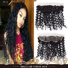 Brazilian Virgin Hair Human Hair Deep Wave Lace Frontal Full Frontal Lace Closure 13×4 Ear To Ear Lace Frontal With Baby Hair