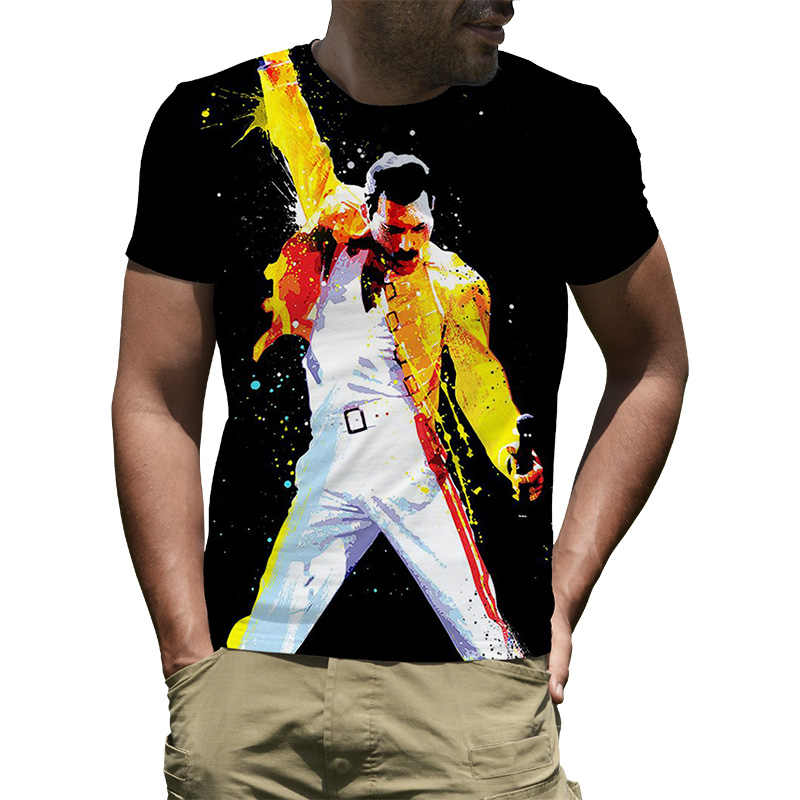 eb6668164 Men's Freddie Mercury The Queen Band T-Shirt Mens Hip Hop Rock Hipster T  Shirt