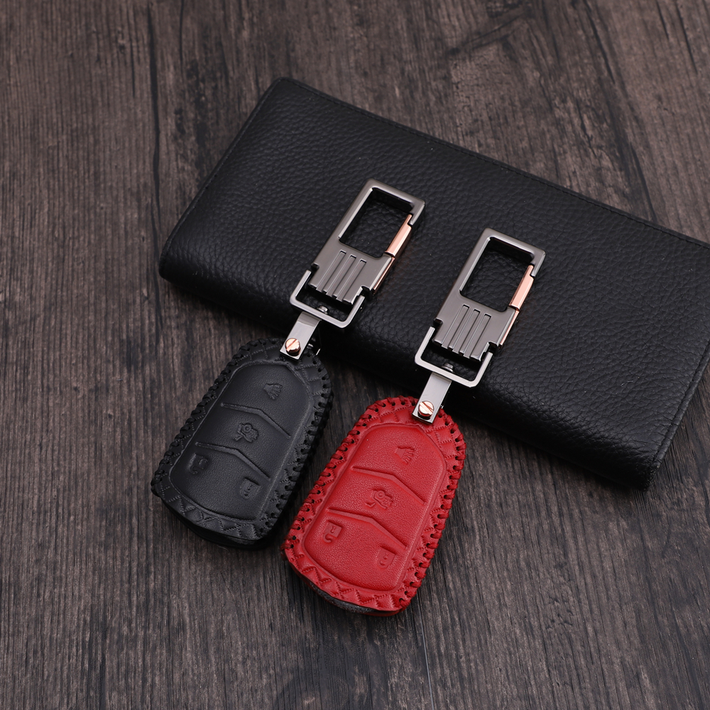 Leather Car Key Cover Case Shell Bag For Cadillac CTS ATS 28T CTS-V coupe SRX Escalade srx atsl xts 2015 XT5 CT6 Car styling