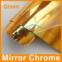 Free shipping Wholesale high quality car wrapping film Car Sticker gold Mirror Chrome vinyl with Air bubble free car decoration