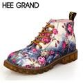 HEE grande Impressão Ankle Boots Senhoras Elegantes Floral Mulheres Primavera Botas Lace-up Apartamentos Sapatos de Plataforma Mulher de Alta Qualidade XWX3426