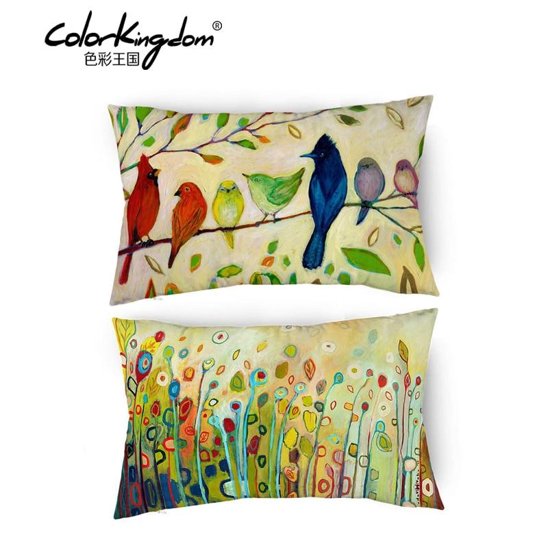 Cuscini Per Divani.Fiori E Uccelli Paesaggio Fodere Per Cuscini Decorativi Cuscini
