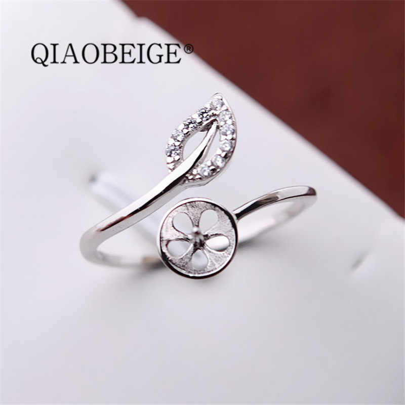 QIAOBEIGE 100% 925 Sterling Silver leaf shaped pearl ring empty holder for Women Girls Fashion 925 Sterling Silver Rings