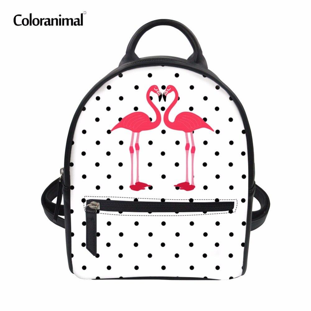 Coloranimal Cartoon Flamingos Printing PU Leather Women Backpack Mochilas Book Bags for Teen Girl Boy Mini Fashion Daypack Bag