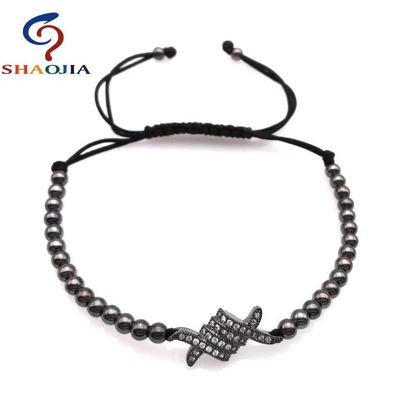 SHAOJIA Brand Skeleton Braiding Macrame Men Bracelet For Hip Hop Rock Style Men Jewelry 2017 Hot 4MM Copper Beads Charm Bracelet