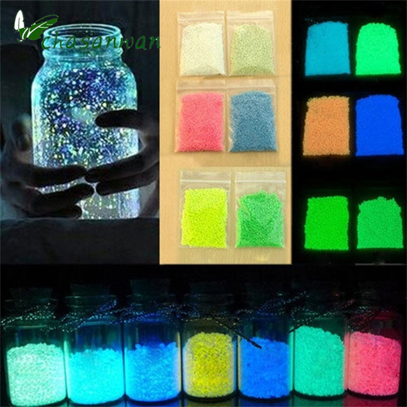 1 bag colorful fun fluorescent super luminous particles glow pigment bright glow sand glow in the dark sand wedding decorationq