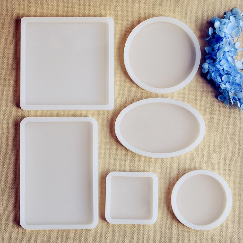 4 Pcs Silicone Molds Epoxy Resin DIY Mold Oval Square Shape Pendant Making Tool Epoxy Resin Molds Kit