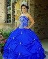 Элегантный королевский синий цвет оборками дешевые пышное платье 2016 в течение 15 года бальное платье средней школы платье