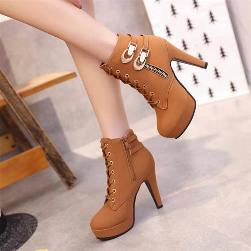 QIUBOSS/женские ботинки на платформе и высоком каблуке; женская обувь на шнуровке; женские ботильоны с пряжкой; повседневная женская обувь на молнии; Q450