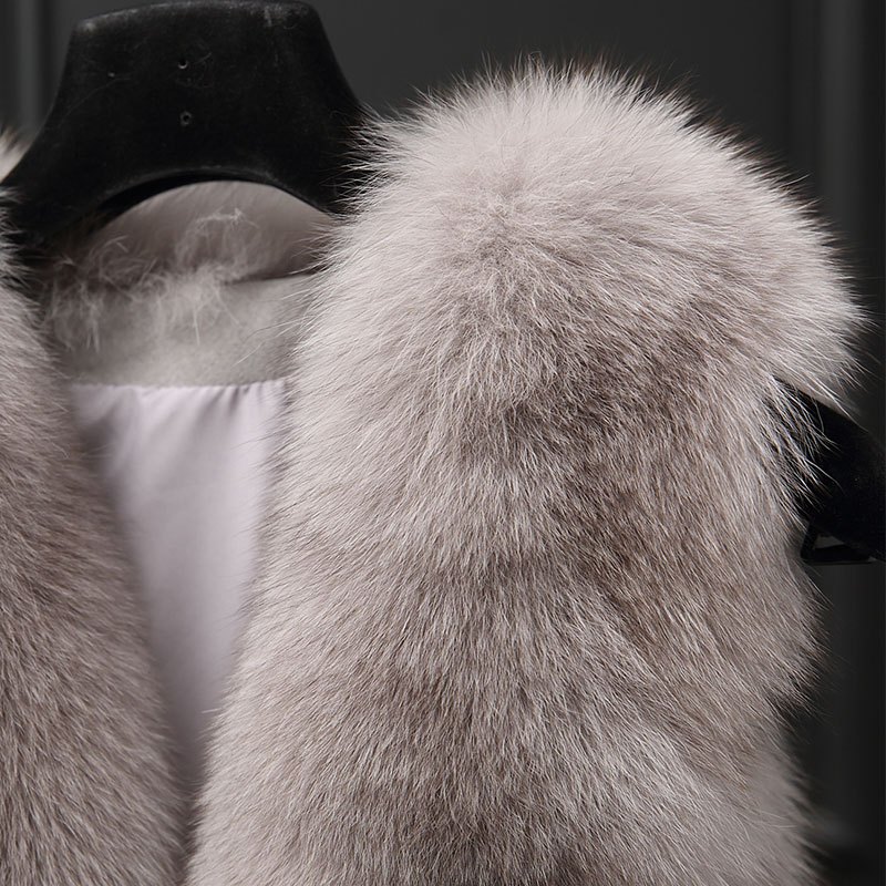 Gray Gilet dousha Femmes Naturelle Manteaux Sans Automne Femme Renard Longue Kj941 Fourrure Hiver De Manteau black 2018 Manches Veste Réel XqHSAgS