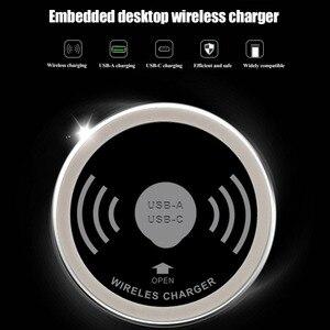 Image 2 - Встроенный Настольный Qi Быстрое беспроводное зарядное устройство 10 Вт 7,5 Вт или 5 Вт USB A type C 15 Вт быстрое зарядное устройство 3,0 встроенный Caricabatter Tipe C встроенное беспроводное устройство настольное