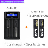 Golisi 2pcs S30 IMR 18650 3000mah E CIG rechargeable battery for VAPE with Golisi I2 Smart Charger LCD Display Fast Charging set