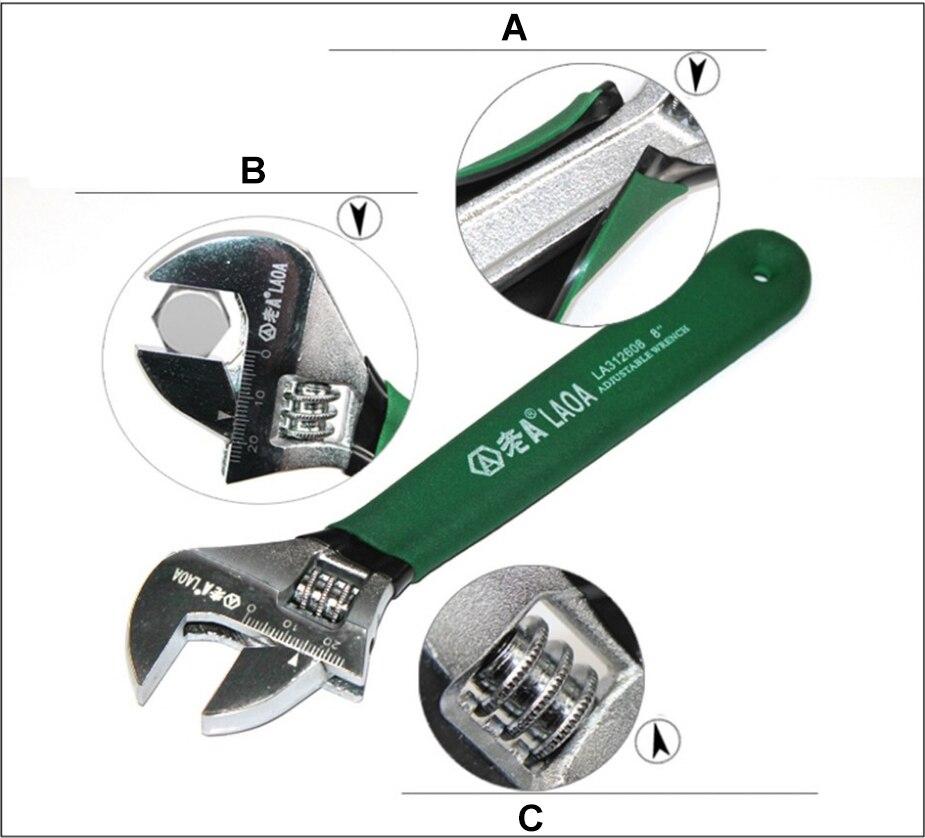 chave de aço inoxidável anti-slide ajustável ajustar chaves ferramentas manuais